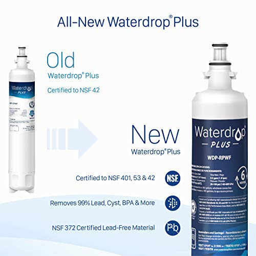 Large Product Image of Waterdrop NSF 401&53&42 Certified RPWF (Not RPWFE) Replacement Refrigerator Water Filter, Compatible with GE RPWF, Plus