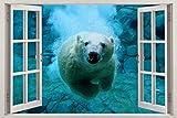 Polar Bear Underwater 3D Window View Decal WALL STICKER Decor Art Animals H100, Huge