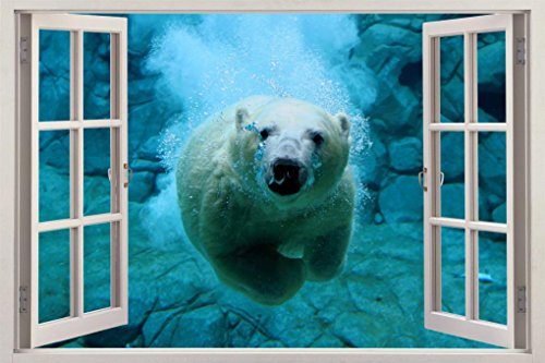 Polar Bear Underwater 3D Window View Decal WALL STICKER Decor Art Animals H100, Huge by Dizzy