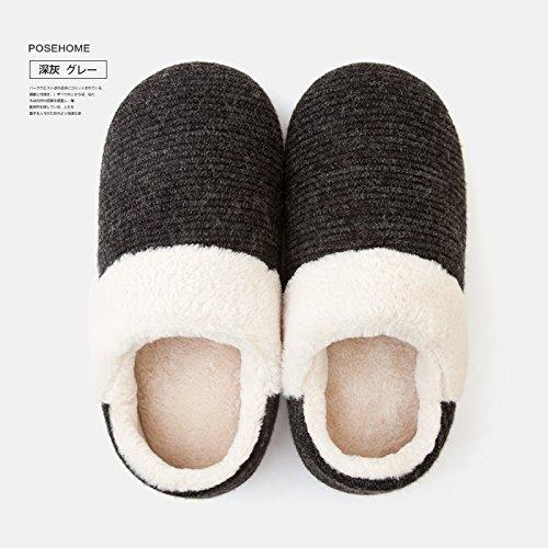 DogHaccd cadono uomini indoor Grigio scuro2 pantofole pantofole soggiorno pacchetto slittamento caldi cotone anti coppie femmina con pantofole nbsp;Inverno home awrqBa