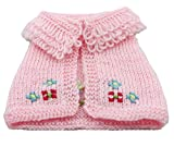 #10: Pet Clothing Dog Sweaters Cape Shawl For Small Size Dogs Robe Woolen Sweater Very Cute 100% Hand Knitted Winter Pet Wear Pink Yellow (XL, Pink)