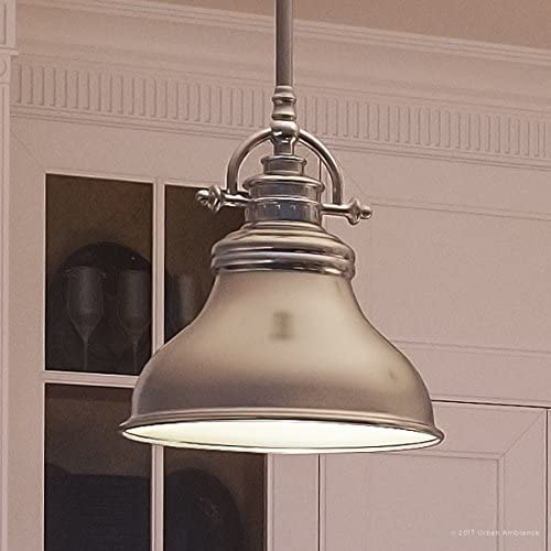 Luxury Industrial Hanging Pendant Light, Small Size 9 H x 8 W, with Americana Style Elements, Nostalgic Design, Pretty Brushed Nickel Finish and Steel Shade, UQL2289 by Urban Ambiance