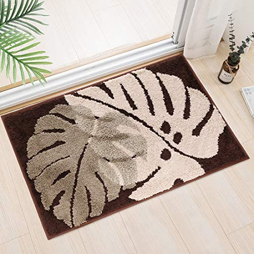 Indoor Door Mat,Super Absorbent Mud and Water Entrance Doormat 20X31.5 inch Rubber Backing Non Slip Front Back Door Rugs Inside Low-Profile Outdoor Mats Machine Washable Door Carpet Brown Leaf