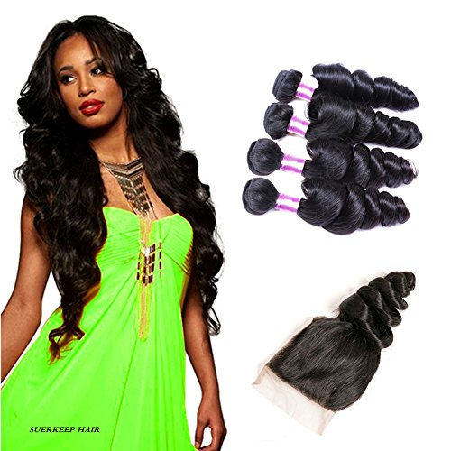 Suerkeep Virgin Brazilian loose Wave 4 Bundles With Free Part Lace Closure Remy Unprocessed Crochet Loose Wave Human Hair Extensions Can Be Dyed, Bleached And Restyled (18 20 22 24+16, #1b)