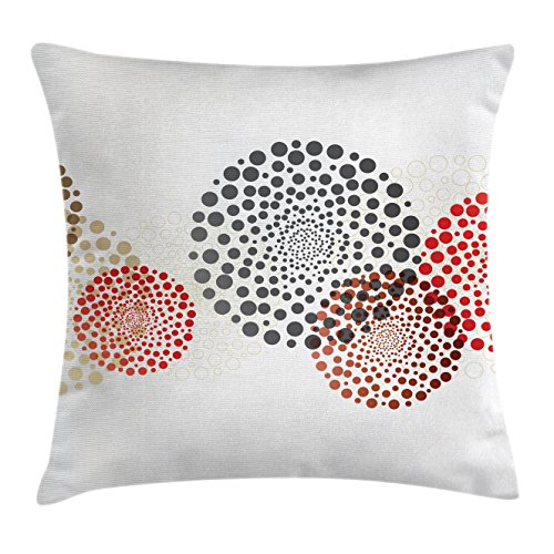 Ambesonne Abstract Throw Pillow Cushion Cover, Modern and Cool Design with Abstract Dots Like and Circled Design Artwork, Decorative Square Accent Pillow Case, 16