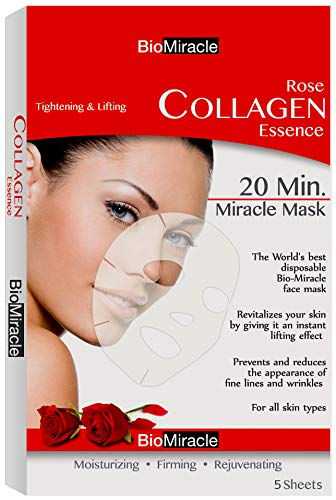 - Bio-Miracle Anti-Aging and Moisturizing Face Mask, Rose, 5 Count