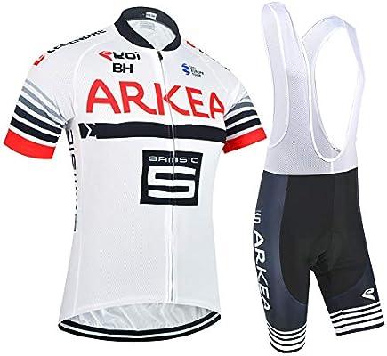 Verano Conjunto Ropa de Ciclismo para Hombre, Maillot Ciclismo Mangas Cortas y Culotte Pantalones Cortos de Bicicleta con 5D Gel Acolchado (S, TM-S003): Amazon.es: Deportes y aire libre