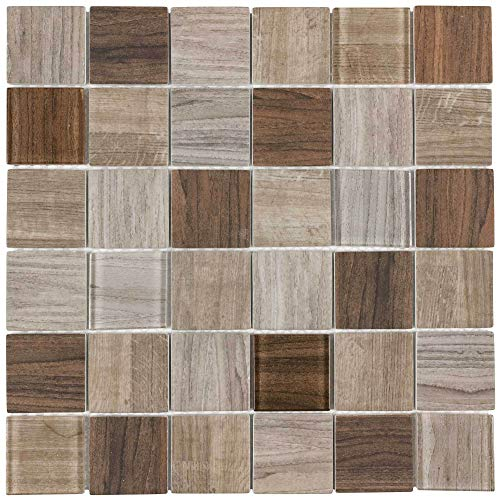 MTO0333 Modern Squares Brown Glossy Wood Grain Recycled Glass Mosaic Tile