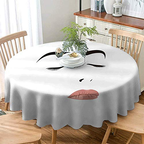 (Round Outdoor Tablecloth,Eyelash,Table Cover for Home Restaurant,40 INCH Black White)