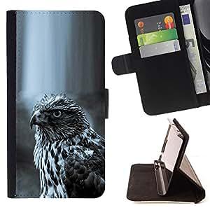 BullDog Case - FOR/Samsung Galaxy Note 4 IV / - / hawk black white nature hunting prey /- Monedero de cuero de la PU Llevar cubierta de la caja con el ID Credit Card Slots Flip funda de cuer