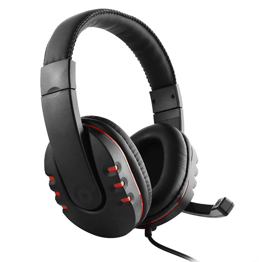 TAOHOU Cuffie da Gioco cablate Cuffie Stereo da Basso con Microfono per PS4 per Xbox-One Nero