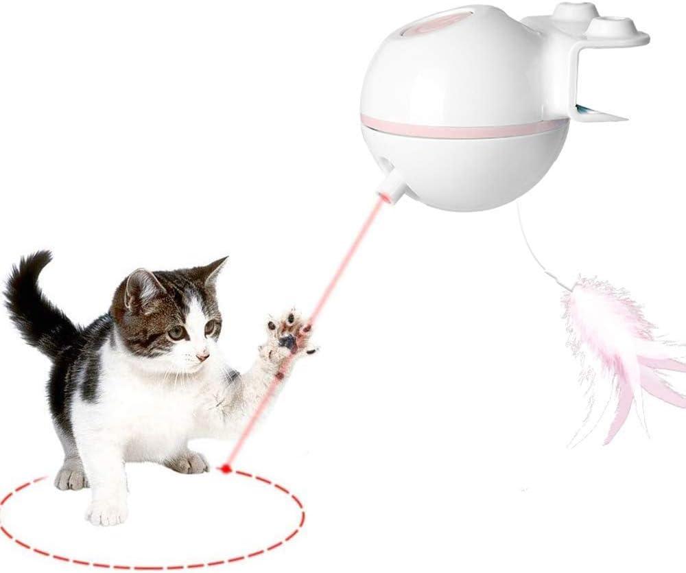 WLMall Juguetes para Gatos, 2 en 1 Juguetes Plumas Interactivos y LED Luz Giratorios Automáticos (Recargable USB), Gatos estimulantes Instinto de Caza/Proporciona Entretenimiento (Rosa): Amazon.es: Productos para mascotas