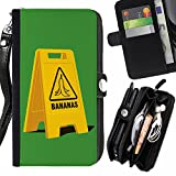 STPlus Bananas Caution Sign Funny Wallet Card Holder with Strap and Zipper Cover Case for Apple iPhone SE / 5 / 5S