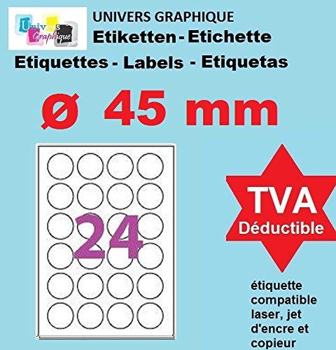 50 A4 Blatt 24 runde selbstklebende Etikett 45 mm 24 Kleberund Papier f/ür Tintenstrahl und Laserdruckern Etikett