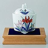 Japanese Porcelain Hasami ware gift. Koro incense burner with wood stand and wooden box. Snomenishiki ayame. K91-04353