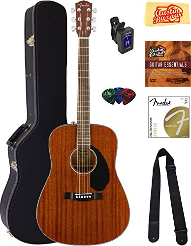 Fender CD-60S Dreadnought Acoustic Guitar - All Mahogany Bundle with Hard Case, Tuner, Strap, Strings, Picks, Instructional DVD, Polishing Cloth