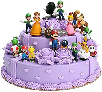 Wondrous Amazon Com 18 Pcs Super Mario Brothers Cake Topper Figures Toy Funny Birthday Cards Online Alyptdamsfinfo