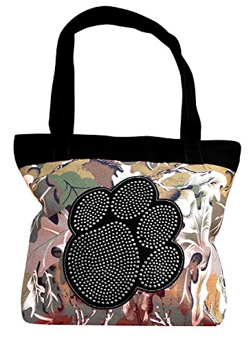 - Peach Couture Womens Designer Print Large Travel Tote Handbag Shoulder Bag Purse Leaf Black