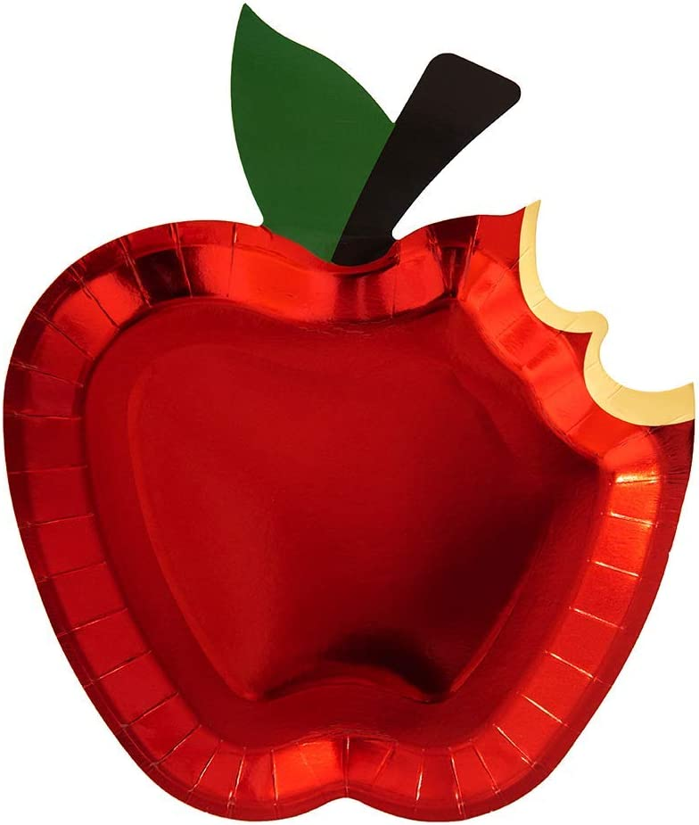 Jollity & Co Party Supplies   Die-Cut Apple Plates   Great For Fall Gatherings, Baby Showers, First Birthdays And Other Decorations   Paper, 12 Pack (Dinner - Full Apple)