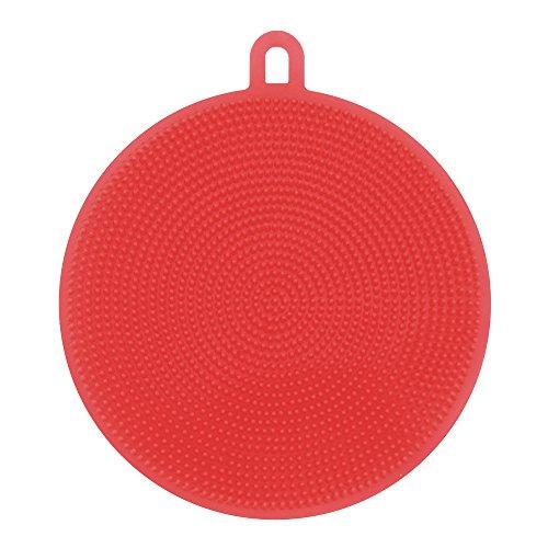 Hmlai Dishwashing Brush, Multipurpose Silicone Dish Washing Sponge Scrubber Kitchen Cleaning Antibacterial Tool (Red)