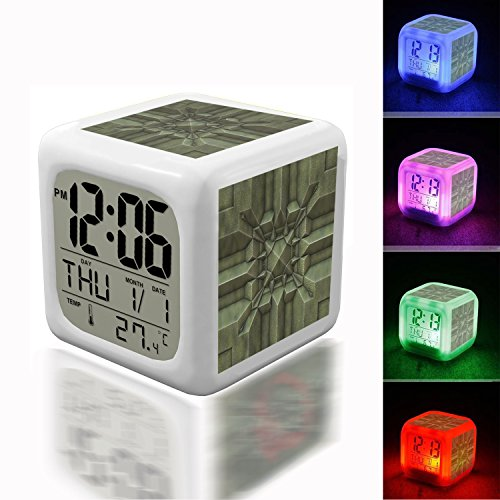 Price comparison product image Wake Up Alarm Thermometer Night Glowing Cube 7 Colors Clock LED for Bedroom&Table, School Desk Customize- 602.Tile,  Metal,  Texture,  Decorative,  Pattern,  Boss(1)