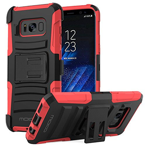 Galaxy S8 Plus Case, MoKo Shock Absorbing Hard Cover Ultra Protective Heavy Duty Case with Holster Belt Clip + Built-in Kickstand for Samsung Galaxy S8 Plus - Red