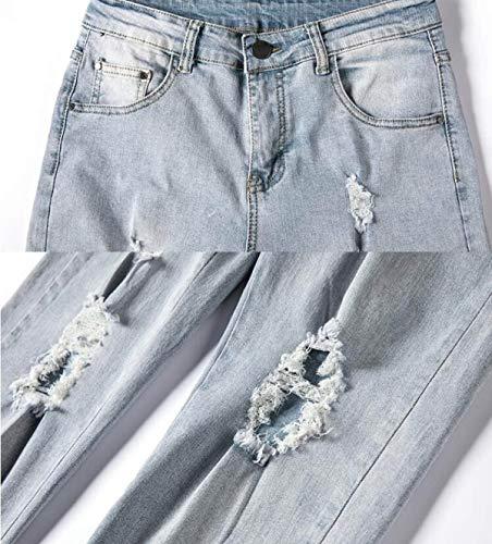 Dritti Slim Sportivi Jeans Il Pantaloni Per Tempo Uomo A Libero Abbigliamento Unita Aderente Vestibilità Fit Blu Cerniera Tinta Nn Con Rd8dqw