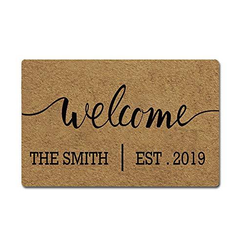 Artsbaba Custom Family Name Personalized Doormat Welcome Est.Date Door Mat Rubber Non-Slip Entrance Rug Floor Mat Funny Home Decor Indoor Mat 23.6 x 15.7 Inches, 3/16