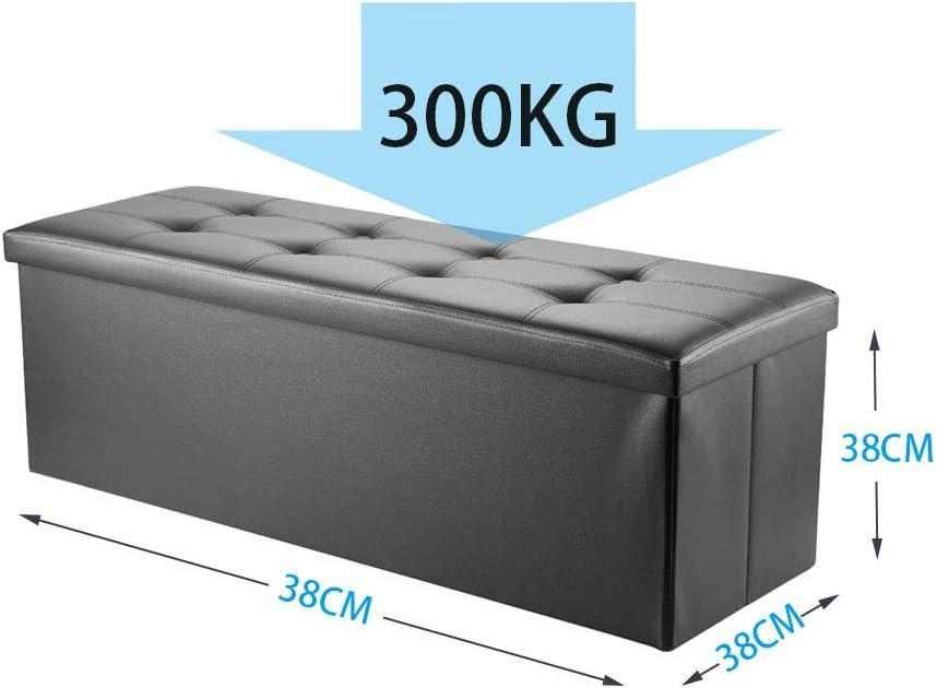 Schwarz arvioo Homeway Faltbar Sitzbank mit Abnehmbarem Deckel Kunstleder Sitzhocker Sitzw/ürfel 110 x 38 x 38 cm