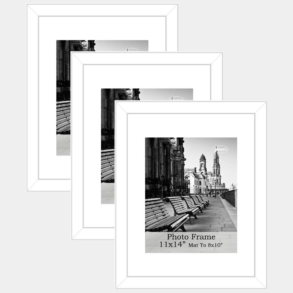 Americanflat 12 Pack Wall Mounting Materials Included Display Pictures 8x10 with Mats or 11x14 Without Mats 11x14 White Picture Frames