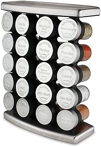 Olde Thompson 20 Jar Traditional Spice Rack, Stainless steel 10 L x 5 W x 13 H Holds up to 20 spices