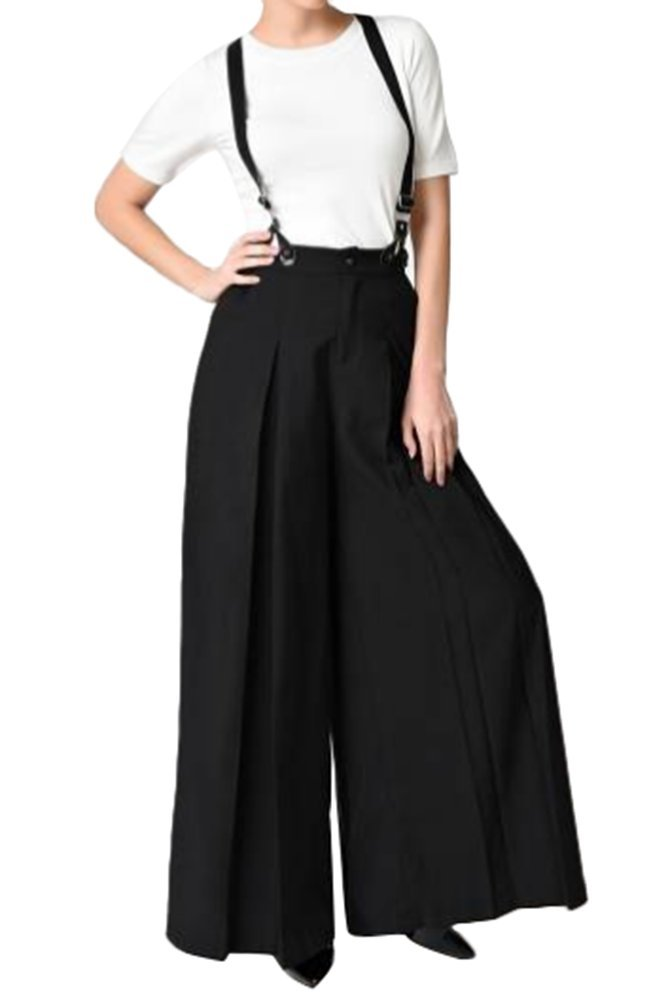 Smibra Womens Casual High Waisted Wide Leg Plus Size Solid Suspender Pants