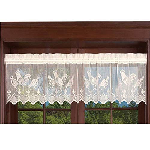 AiFish Beige Lace Sheer Curtain Valance 1