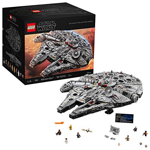 LEGO Star Wars Ultimate Millennium Falcon 75192 Expert Building Kit and Starship Model, Best Gift and Movie Collectible for Adults (7541 Pieces) (Star Wars Metal World)