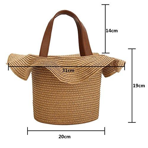 dentelle la paille de sac de main fait paille tissé épaule fille les tressé de de unique forme tressé Kaki Gaeruite sac plage Beige sac pour sac femmes en Tv7qSxEWwn