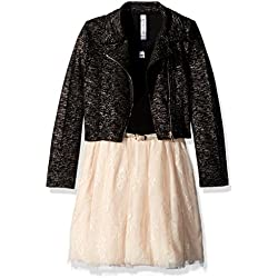 Beautees Big Girls' Dress Set With Moto Jacket, Champagne, 12