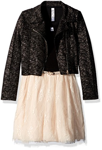 Beautees Big Girls' Dress Set With Moto Jacket, Champagne, 16