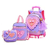 Meetbelify Rolling Backpack for Girls with Pencil Case&Lunch Bag School Bags Trolley Wheeled Backpacks,Purple