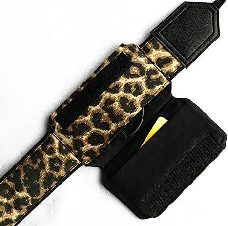 Code 00227 Black and Brown Animal Print Camera Strap Light Weight and Well Padded Camera Strap Leopard Camera Strap with Lens Pocket Cheetah DSLR//SLR Camera Strap Durable