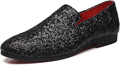Gentle Schuhe Mall Herren Modern Metallic Slip auf Nachtclub Schuhe texturiert Glitter Pailletten Loafers Hochzeitsschuhe Schwarz