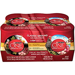 Purina ONE SmartBlend Wet Dog Food, Classic Variety Pack, Real Turkey & Venison/Real Chicken & Duck - (6) 13 oz. Cans