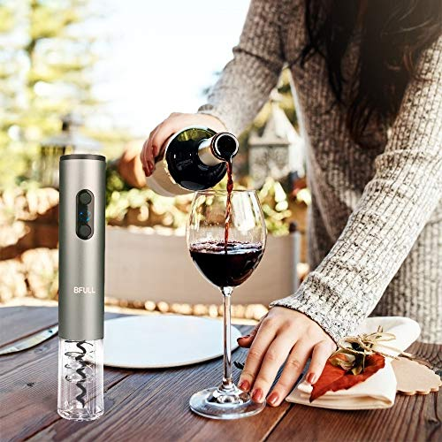 Electric Wine Opener, BFULL Cordless Bottle Opener Electric Corkscrew, Opener Includes Automatic Wine Opener, Vacuum Stoppers, Foil Cutter, Wine Aerator Pourer for Party, Dating, 4-in-1 Gift Set