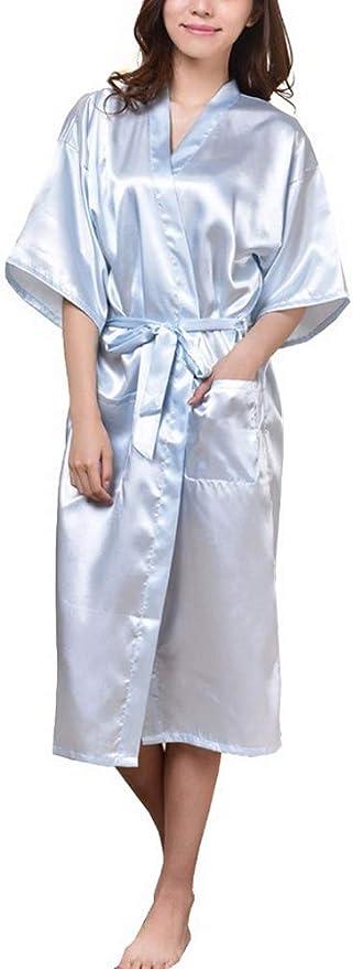 Mujer Albornoz Kimono Bata de Baño con Bolsillo Bathrobe Bride Batas Maestra Pijamas: Amazon.es: Ropa y accesorios
