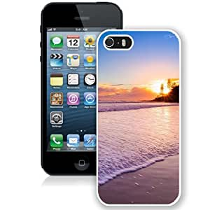 Beautiful Unique Designed iPhone 5S Phone Case With Sunset At The Beach_White Phone Case