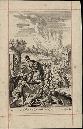 Ahaz Wicked King Cruel Ungodly Ruler of Israel 1690 old original engraved print ()
