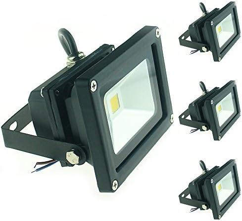 QUANS 10W 12V 24V DC AC LED Flood Light Lamp Floodlight Security Outdoor Waterproof Ultra Bright Black, 4PCS Warm White