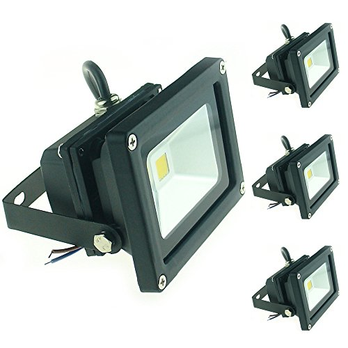 - QUANS 10W 12V 24V DC AC LED Flood Light Lamp Floodlight Security Outdoor Waterproof Ultra Bright Black, 4PCS Warm White