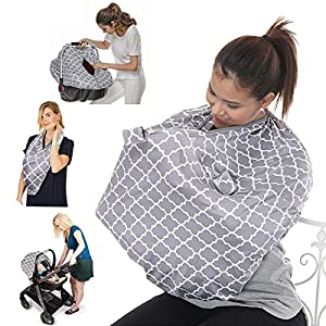 Baby Nursing Cover Breastfeeding Scarf – Baby Car Seat Canopy – Nursing Pads, Pouch Shower Gift, Shopping Cart, Stroller…
