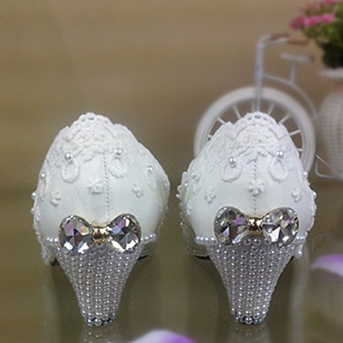 Shoes With Pearl Wedding Shoes Sandals VIVIOO 5 Women'S Lace Wedding Bow Waterproof Shoes Prom Camera Bride White Bridesmaid wIq8xnYXB