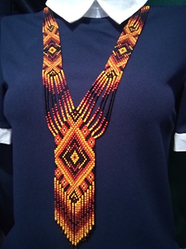 Ukrainian Folk National Costumes (Ukrainian Ethnic Gerdan, Orange-Red-Black Beaded Long Necklace)